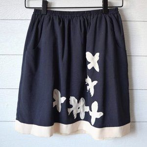 Anthropologie COMME TOI Bird A-Line Skirt S